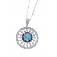 Alesandro Menegati Sterling Silver Necklace with White and Black Diamonds and Blue Topaz