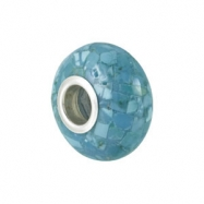 Sterling Silver Kera Mosaic Turquoise Bead