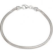 Sterling Silver 07.00 Inch Kera Snake Bracelet