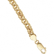 14K Yellow Gold 7 Inch Solid Charm Bracelet