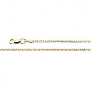 14K Yellow 18 INCH Diamond Cut Cable Chain