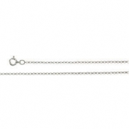 14K White 18.00 INCH ROLO CHAIN WITH SPRING RING Rolo Chain With Spring Ring
