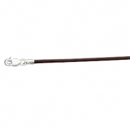 14K White Gold 16.00 Inch Brown Leather Cord