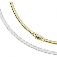 14K Yellow/White 7 INCH TWO TONE REVERSIBLE OMEGA CHAIN Two Tone Reversible Omega Chai