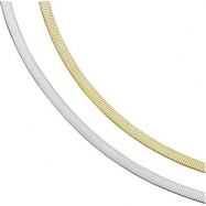 14K Yellow/White 8 INCH TWO TONE REVERSIBLE OMEGA CHAIN Two Tone Reversible Omega Chai