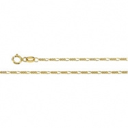 14K Yellow 18 INCH Solid Figaro Chain