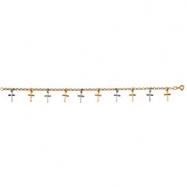 14K Yellow White Gold 10 Cross Bracelet Two Tone
