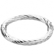 Sterling 07.00 Inch Silver Hinged Bangle
