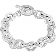Sterling Silver 7.5 Inch Hammered Finished Link Bracelet With Toggle Clasp