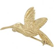 14K Yellow Gold Hummingbird Brooch