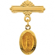 14K Yellow Gold Miraculous Baptismal Pin