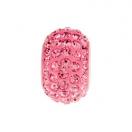 Sterling Silver Kera Bead With Pave Rose Crystals Ring Size 6