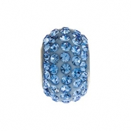 Sterling Silver Kera Bead With Pave Light Sapphire Crystals Ring Size 6