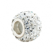 Sterling Silver Kera Bead With Pave Crystals Ring Size 6