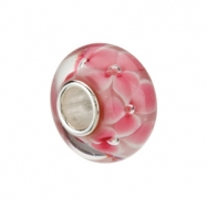 Sterling Silver 14.00 X Kera Pink Flower Glass Bead Ring Size 6