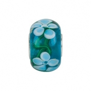 Sterling Silver 14.00 X 10.00 Kera Blue Turquoise Flower Glass Bead Ring Size 6