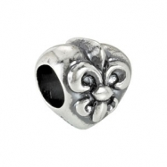 Sterling Silver Kera Fleur-de-lis Bead Ring Size 6