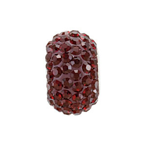 Sterling Silver 12.00 X January Kera Bead With Pave Garnet Crystals. Price: $18.47