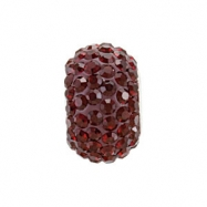 Sterling Silver 12.00 X January Kera Bead With Pave Garnet Crystals