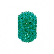 Sterling Silver May Kera Bead With Pave Emerald Crystals