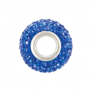 Sterling Silver 12.00 X September Kera Bead With Pave Sapphire Crystals