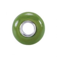 Sterling Silver X Kera Lime Green Glass Bead