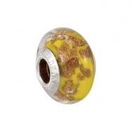 Sterling Silver Kera Bella Viaggio Yellow Glass Bead With Aventurina