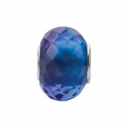 Sterling Silver 15.00 X Kera Blue & Purple Faceted Glass Bead Ring Size 6