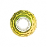 Sterling Silver 15.00 X Kera Green & Yellow Faceted Glass Bead Ring Size 6