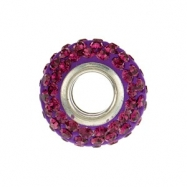 Sterling Silver Kera Bead With Pave Purple Crystals