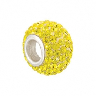 Sterling Silver November Kera Bead With Pave Citrine Crystals
