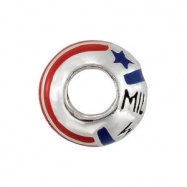 Sterling Silver Kera Military Wife Enamel Bead Ring Size 6