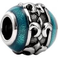 Sterling Silver Decorative De Kera Decor Fleur Di Lis Bead