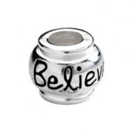 "Sterling Kera Silver """"believe"""" Expression Bead Ring Size 6"