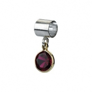 Sterling Silver & 14k Yellow Gold January Kera Bead With Birthstone Dangle Ring Size 6