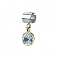 Sterling Silver & 14k Yellow Gold April Kera Bead With Birthstone Dangle