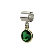 Sterling Silver & 14k Yellow Gold May Kera Bead With Birthstone Dangle