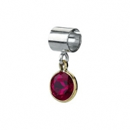 Sterling Silver & 14k Yellow Gold July Kera Bead With Birthstone Dangle Ring Size 6