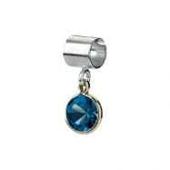 Sterling Silver & 14k Yellow Gold September Kera Bead With Birthstone Dangle Ring Size 6
