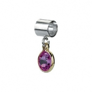 Sterling Silver & 14k Yellow Gold October Kera Bead With Birthstone Dangle Ring Size 6
