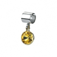Sterling Silver & 14k Yellow Gold November Kera Bead With Birthstone Dangle Ring Size 6
