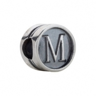 Sterling Silver M Kera Alphabet Cylinder Bead Ring Size 6