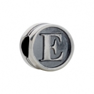 Sterling Silver E Kera Alphabet Cylinder Bead Ring Size 6