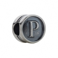 Sterling Silver P Kera Alphabet Cylinder Bead Ring Size 6