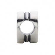 Sterling Silver R Kera Alphabet Cylinder Bead Ring Size 6