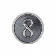 Sterling Silver 8 Kera Numeral Cylinder Bead