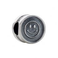 Sterling Silver Kera Smiley Face Cylinder Bead Ring Size 6