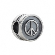 Sterling Silver Kera Peace Sign Cylinder Bead Ring Size 6
