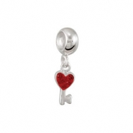 Sterling Silver Kera Drop Heart Key Dangle Bead With Red Crystal Ring Size 6