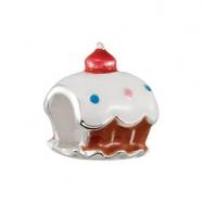 Sterling Silver Kera White Cupcake Enamel Bead Ring Size 6